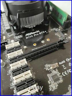 ASRock H110 Pro+ Mining motherboard 13GPU +intel I3 6100t +8gb ddr4 +240gb+riser