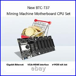 BTC-37 Cryptocurrency Mining Machine Motherboard CPU Set 8 PCI Slot DDR3 Memory