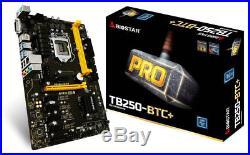 Biostar TB250-BTC+ Motherboard LGA 1151 ATX DDR4 8 x PCI-E slots Intel B250 NEW