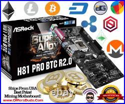 MINING MOTHERBOARD! BRAND NEW! ASRock H81 PRO BTC R2.0 LGA 1150 6 PCIE BITCOIN