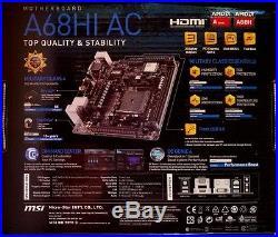 MSI A68HI AC FM2+, DDR3, PCI-E 3.0, Wireless-AC, Mini ITX AMD Motherboard NEW