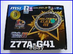MSI Z77A-G41 E PCi Express 24-pin ATX DDR3 Intel LGA1155 SATA III Motherboard