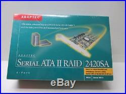 NEW Adaptec AAR-2420SA 4-Port PCI-X Serial ATA II Raid Controller Card
