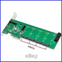 SCSI Port Cards Syba 4 MSATA Slot III PCI-e 2.0 X4 HyperDuo RAID Hard Drive 9230