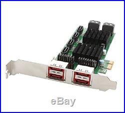 Syba SD-PEX40105 8-Port SATA-3 6G Dual Chipset Pci-E 2.0 X1 Slot Controller Card